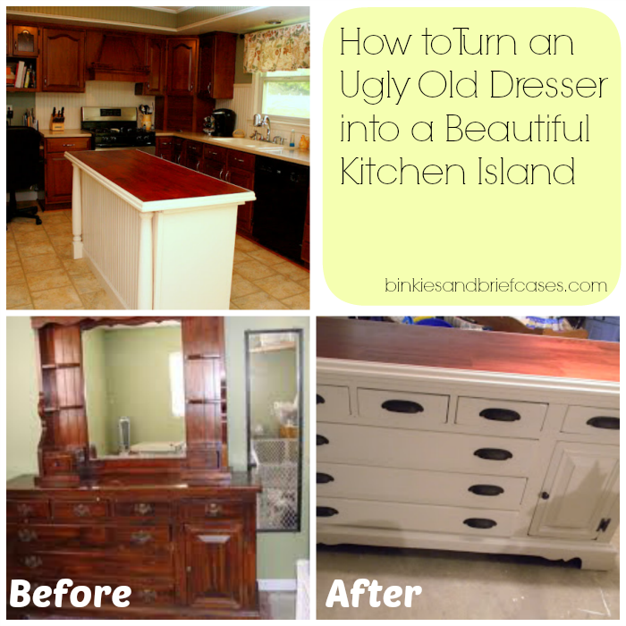 How To Turn A Dresser Into Kitchen Island