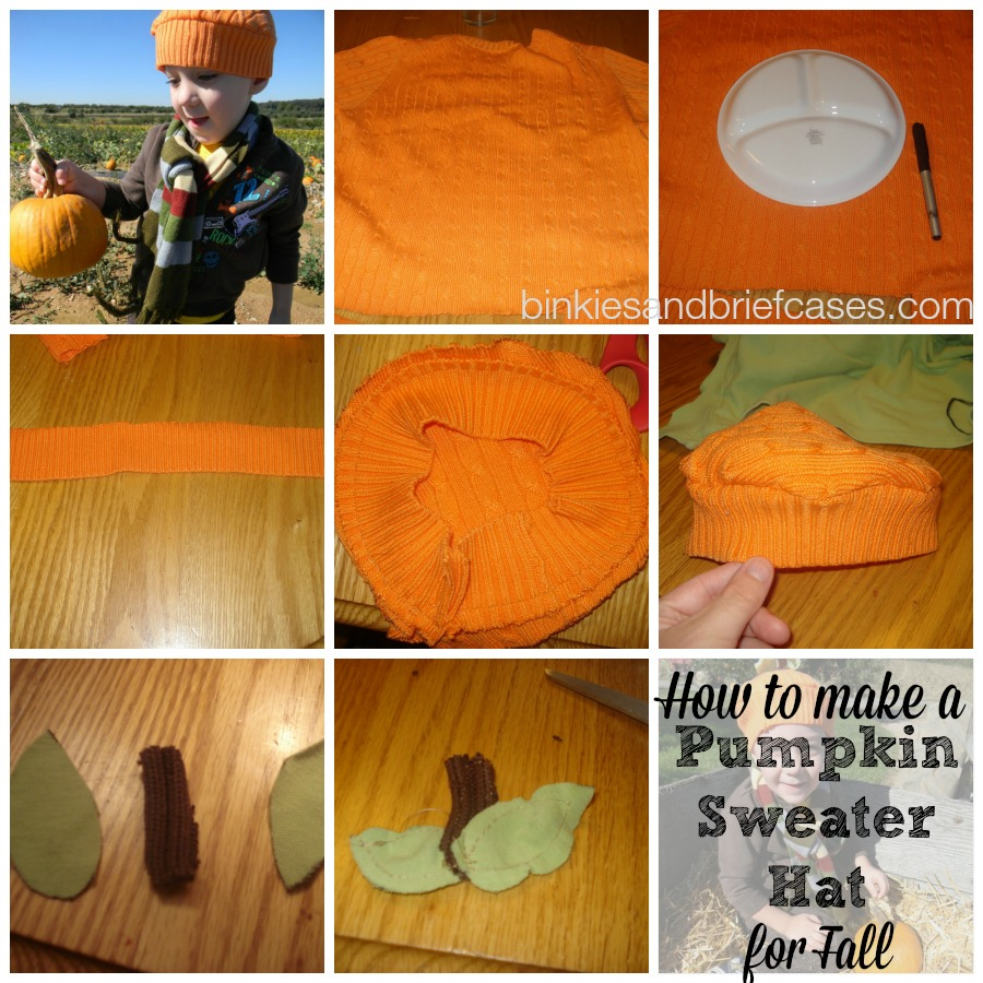 How to make a pumpkin sweater hat for fall. Super cute and can be a great start to a DIY Halloween costume