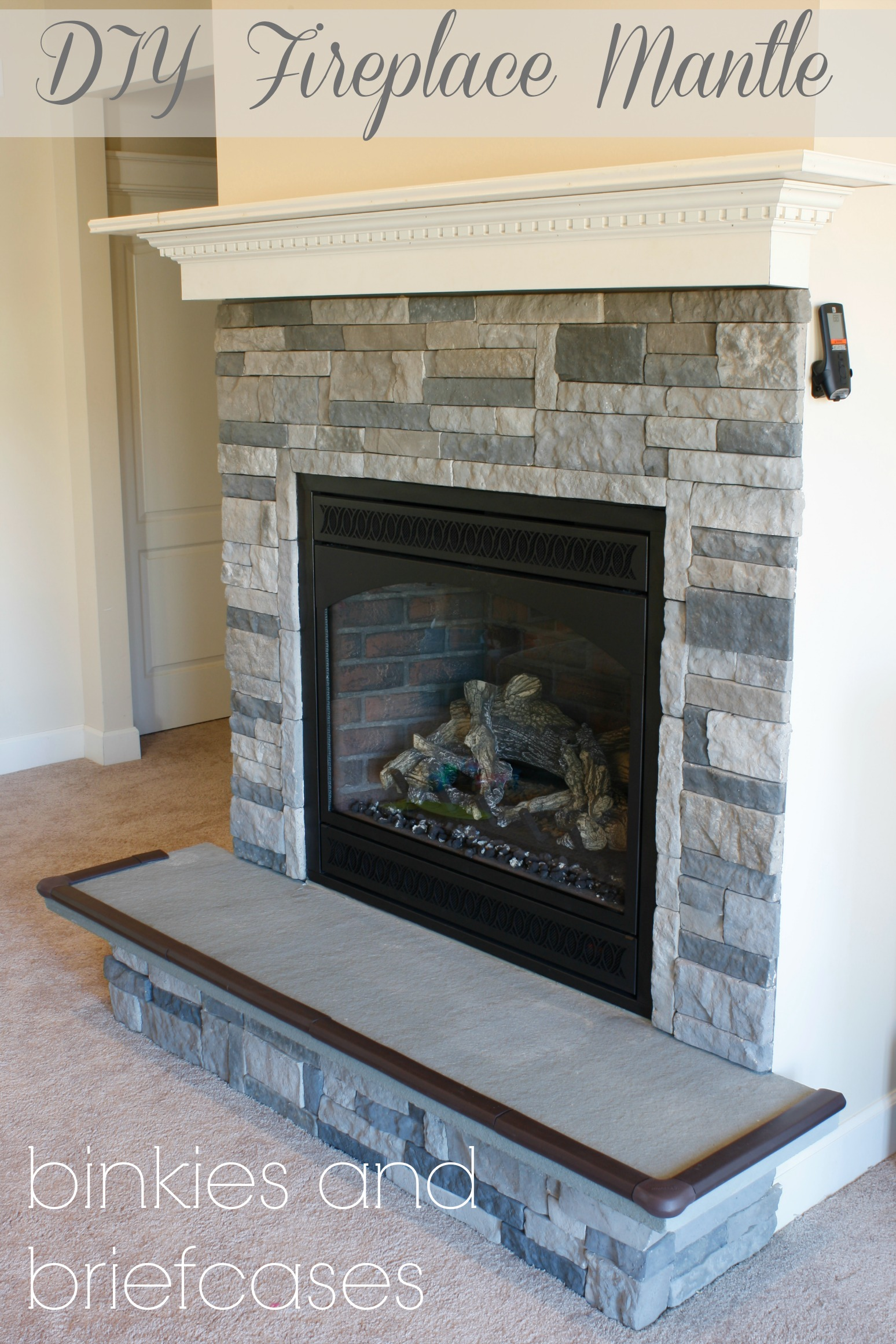 Diy stone fireplace with airstone binkies and briefcases for Fireplace half stone