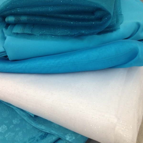 Fabrics for Elsa costume. These were all found at Walmart