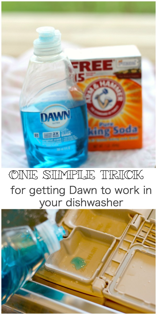 A simple trick to using Dawn in the dishwasher. ""