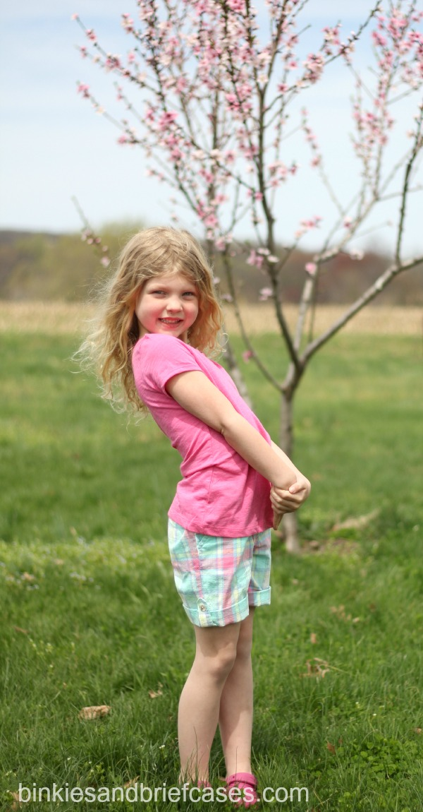 little girl wearing Bermuda shorts from Target