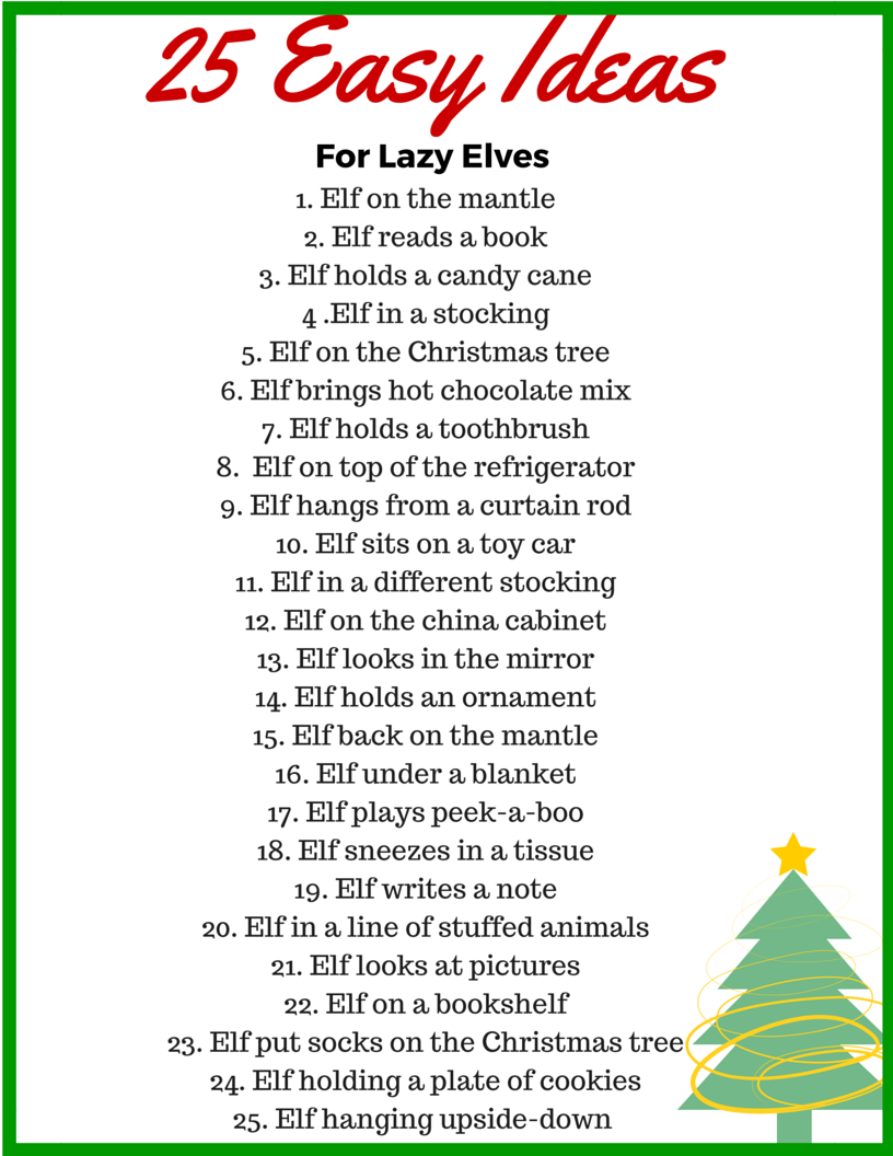 25 Easy Elf On the Shelf Ideas for Your Lazy Elf • Binkies and ...