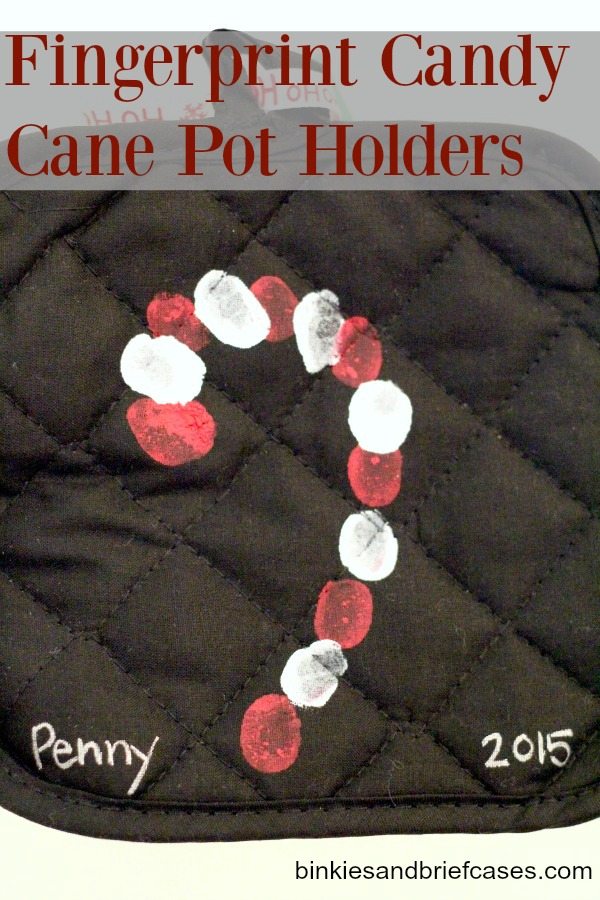 ... with this adorable candy cane thumbprint gift she made with her class