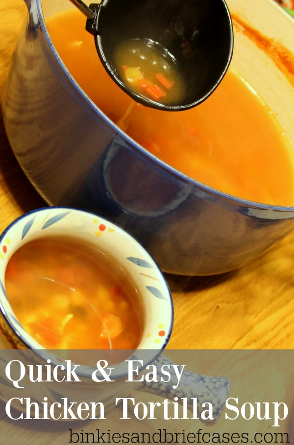 Quick and easy chicken tortilla soup recipe. Get dinner on the table in 20 minutes tonight.