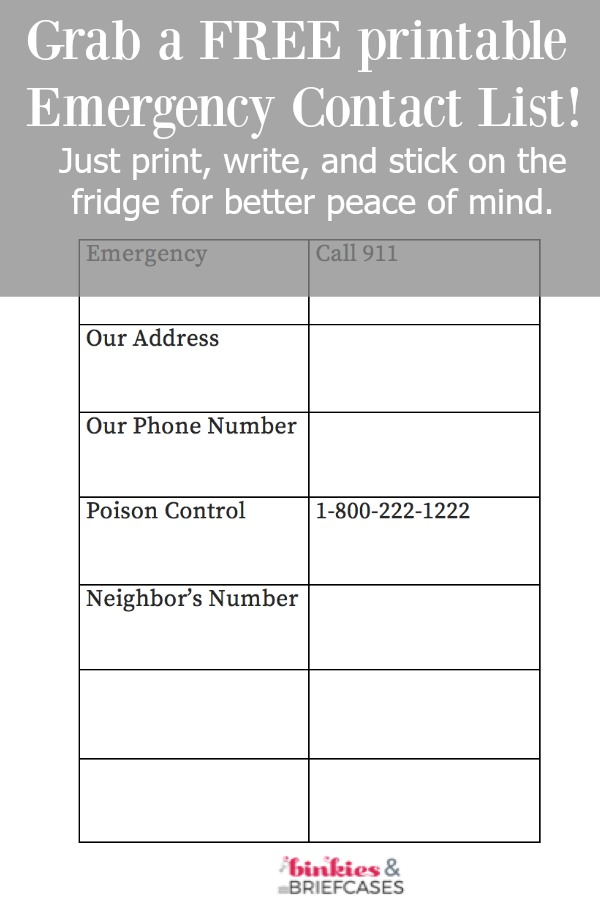 picture relating to Printable Contact List named Cost-free Printable Unexpected emergency Call Checklist Binkies and Briefcases