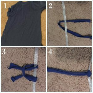 Step by step guide for making an easy no sew skirt for your 18 inch doll