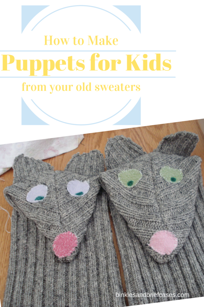 How to make puppets for kids out of the sleeves from your old sweaters.
