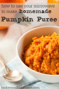 Learn how to use your microwave to make homemade pumpkin puree out of fresh pumpkins. Just like the kind you buy in a can, but with no preservatives and only one ingredient- pumpkin!