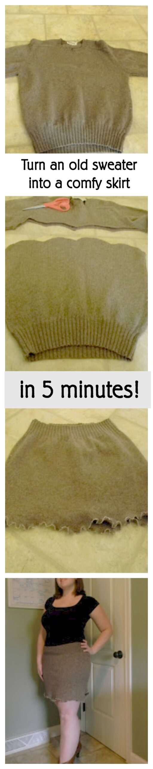 Turn an old sweater into a comfy skirt in five minutes