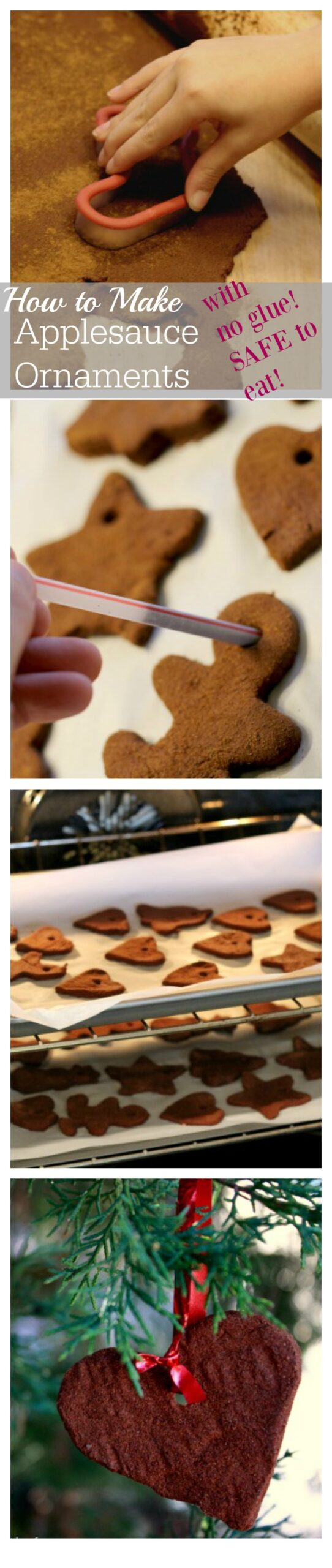 """Lots of cinnamon applesauce ornament recipes contain glue and are not safe for toddlers to eat while they are """"helping"""" to roll out the dough. This recipe is all-natural and only contains two ingredients."""