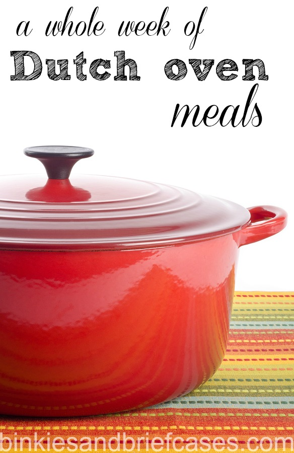 A whole week of dinner recipe ideas made in a dutch oven like a Le Creuset.