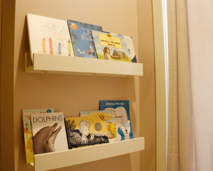 book shelves made from wood scraps