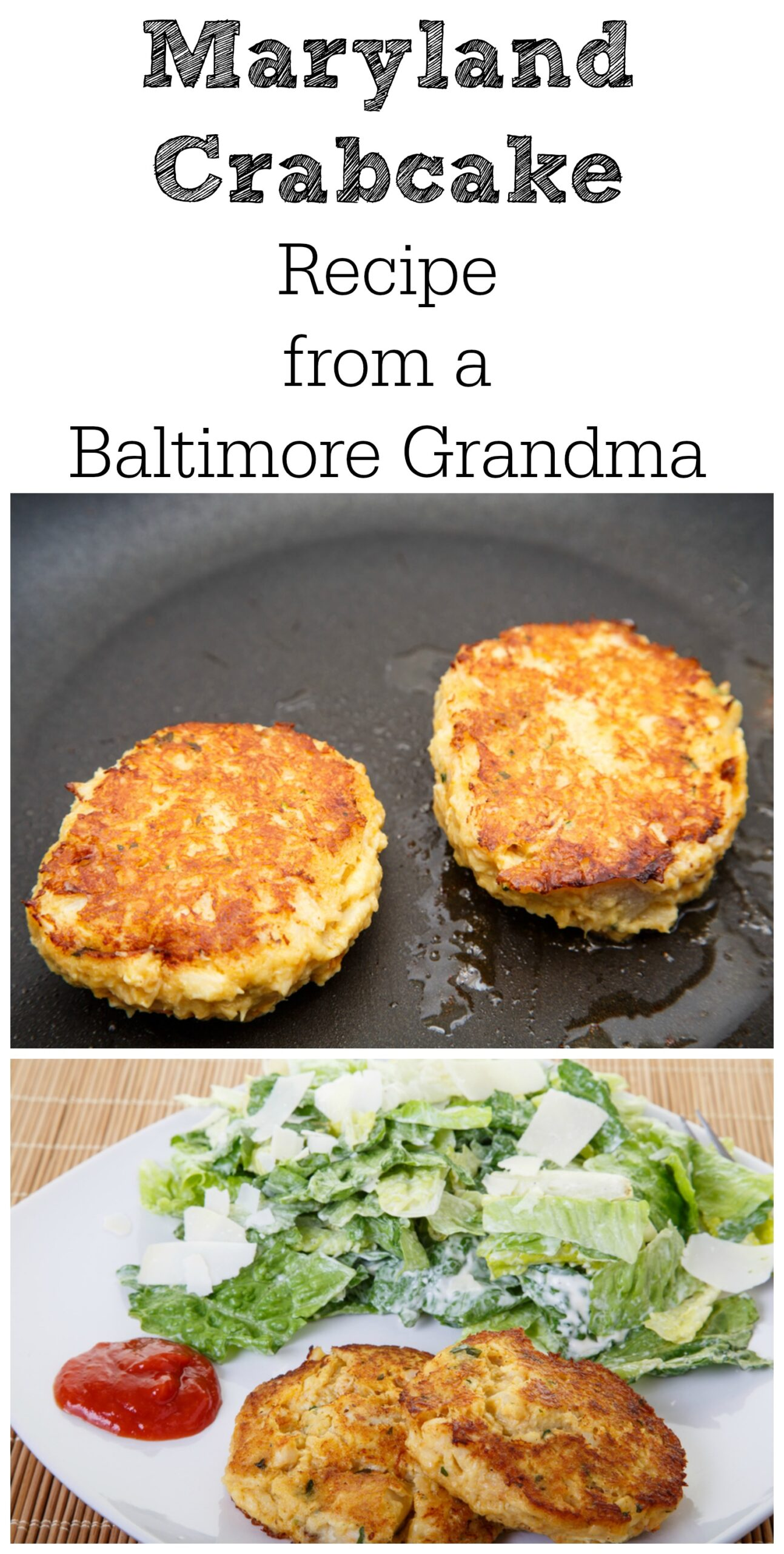 These are real Maryland crab cakes, straight out of a grandmother's kitchen. This is a great recipe for a quick and easy dinner when you want something light! They also make great sandwiches.